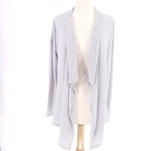 Eyeshadow Stretchy Ribbed Long Open Front Cardigan